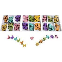 Dětské dřevěné dekorace - 3 Sady barevných dekorací -  srdíčka, motýlci, květink