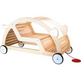Dřevěné tahací a houpací auto 2v1