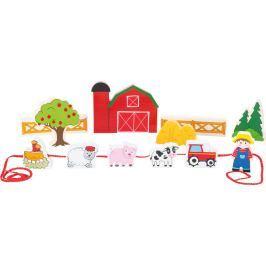 Dřevěný navlékací hrací set Farma