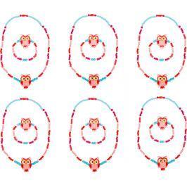 Displej - Dřevěné šperky se sovou, růžové 12 ks