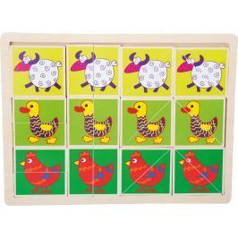 Dřevěvé puzzle Veselá zvířátka
