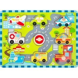 Dřevěné vkládací puzzle Městská doprava