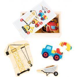 Dřevěné puzzle stavební stroje
