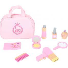 Dětská kosmetická taštička růžová s dřevěnými doplňky