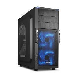 SHARKOON skříň T3-W / Middle Tower / 2x USB3.0 / průhledná bočnice / modré LED /