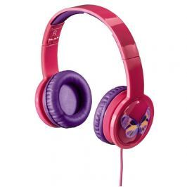 Hama dětská sluchátka Kids LED, uzavřená, růžová