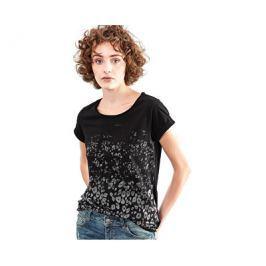 Q/S designed by s.Oliver Dámské černé triko se vzorem s krátkým rukávem, XS