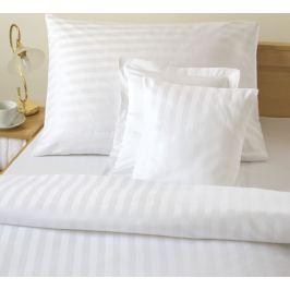 Dadka Atlasové povlečení  bílé - proužek 2 cm, 220x240, (2x) 70x90