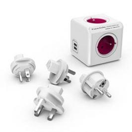 Rozbočovací zásuvka 240V, CEE7 (vidlice)-POWERCUBE, 0.1m, REWIRABLE USB, fialová