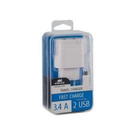 RIVACASE Nabíječka VA 4123 WD1, bílá, 2 x USB,  3,4A, datový kabel micro USB,