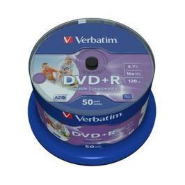 Verbatim Disk  DVD+R 4,7GB, 16x, printable, 50-cake