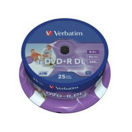 Verbatim Disk  DVD+R DualLayer, 8,5GB, 8x, printable, 25-cake