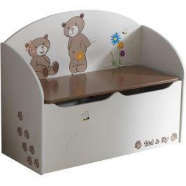 Tempo Kondela Krabice na hračky, čokoládová/bílá, PUFF 234549