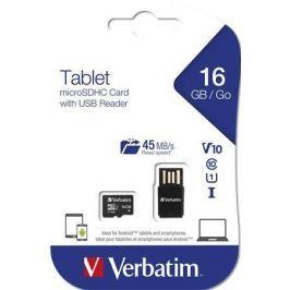 Verbatim Paměťová karta, SDHC, 16GB, Class 10 UHS I, 45/10MB/sec,