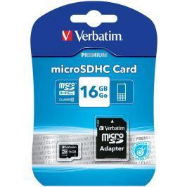Verbatim SDHC 16GB micro paměťová karta PREMIUM UHS-I (U1) (45MB/s), Class 10 + adapter V