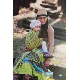 LITTLE FROG Žakárový tkaný šátek na nošení dětí - LEMON HOURGLASSES, XL