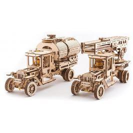 Ugears dřevěná stavebnice 3D mechanické Puzzle - Cisterna a Hasičský vůz Truck U