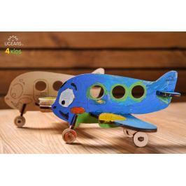 Ugears dřevěná stavebnice 3D mechanické Puzzle - Barevné letadélko