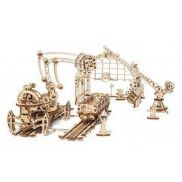 Ugears dřevěná stavebnice 3D mechanické Puzzle - Železniční jeřáb - Manipulátor