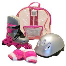 Rulyt Kolečkové brusle sada brusle+helma+chrániče, růžové, M