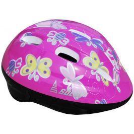 Sulov Dětská cyklo helma  JUNIOR, tm. růžová s motýlky, L