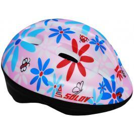 Sulov Dětská cyklo helma  JUNIOR, sv. růžová s květy, M