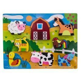 EURO BABY Dřevěné zábavné puzzle vkládací  - Zvířátka na farmě