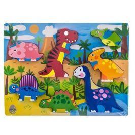 EURO BABY Dřevěné zábavné puzzle vkládací  - Dinosauři