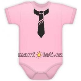 Vyrobeno v EU Body kr. rukávek s potiskem kravaty - sv. růžové, 62 (2-3m)