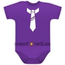 Vyrobeno v EU Body kr. rukávek s potiskem kravaty - fialové, 68 (4-6m)