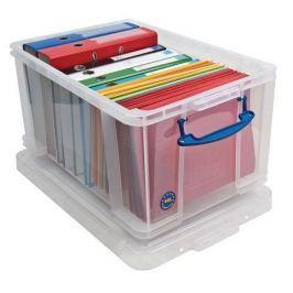 REALLY USEFUL Box, plastový, s víkem, 48 l, průhledný,