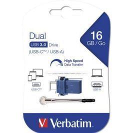 Verbatim 16GB USB Flash 3.0 + USB-C adaptér,  DUAL
