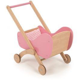Tidlo dřevěný kočárek růžový
