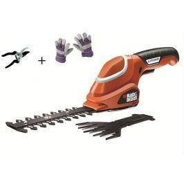 Black - Decker Nůžky na trávu a živý plot Black&Decker GSL700 KIT, Aku + rukavice a nůžky