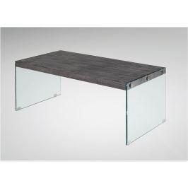 Tempo Kondela Konferenční stolek, tvrzené sklo / MDF, vzor dřevo, BOJAN