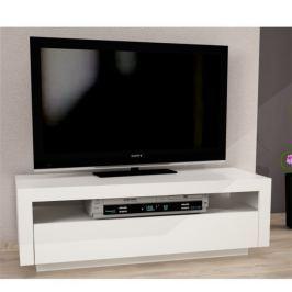 Tempo Kondela TV stůl s vyklápěcí zásuvkou, bílá, AGNES