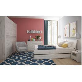 Tempo Kondela Ložnicová sestava, skříň, postel 160x200, 2x noční stolek, bílá craft, ANGEL