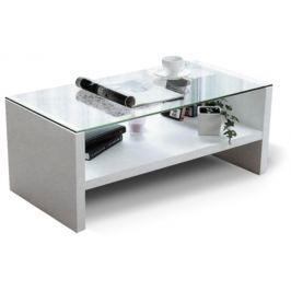 Tempo Kondela Konferenční stolek, sklo/bílá, TIBER