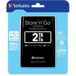 """Verbatim HDD 2.5"""" 2TB USB 3.0 černý, Green Button, externí harddisk Store 'n' Go"""