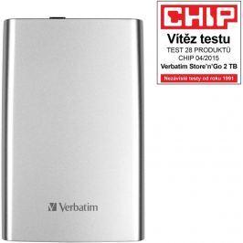"Verbatim HDD 2.5"" 2TB USB 3.0 stříbrný, Green Button, externí harddisk Store 'n'"
