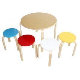 Tempo Kondela Dětský set 1 + 4, březové dřevo, mix barev, SIGRID
