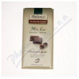 KLINGELE CHOCOLADE Balance Mléčná čokoláda s lísk.ořechy b.cukru 100g