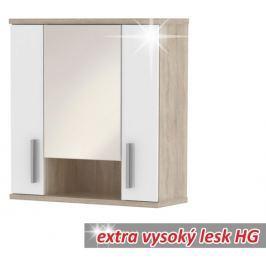 Tempo Kondela Závěsná skříňka, dub sonoma/bílá vysoký lesk, Lessy LI01
