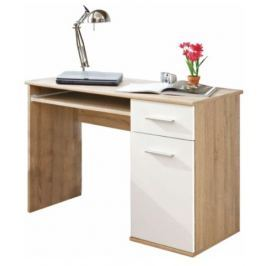 Tempo Kondela PC stůl, dub sonoma / bílá, EMIO Typ 6