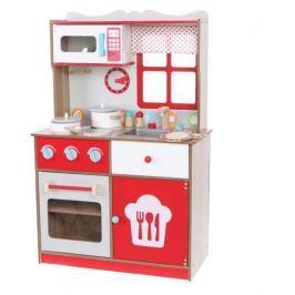 ECO TOYS Dřevěná kuchyňka  s vybavením, červená