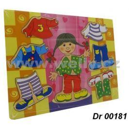 Dřevěná vkládací puzzle - Oblékací holka