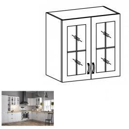 Tempo Kondela Horní dvoudveřová skříňka se sklem G80, bílá / sosna andersen, PROVANCE