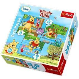 TREFL Puzzle pro děti 3v1  - Medvídek Pú: Pojďme si hrát 20,36,50 dílků