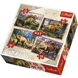 TREFL Puzzle pro děti 4v1 - Dinosauři (35 - 70 dílků)
