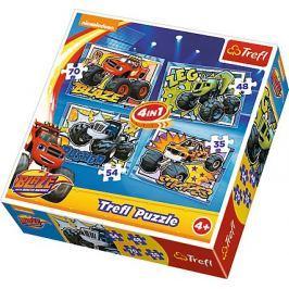 TREFL Puzzle pro děti 4v1 - Plamínek a čtyřkoláci (35 - 70 dílků)